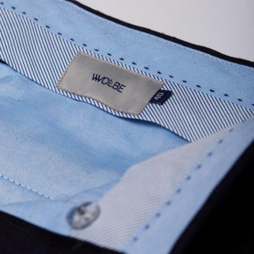 pantalon en laine merinos flanelle bleu city pant wolbe sans pince