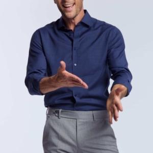 chemise homme 100% laine merinos bleu de minuit Biella Wolbe