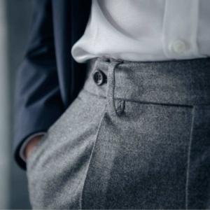 pantalon en laine une pince Wolbe