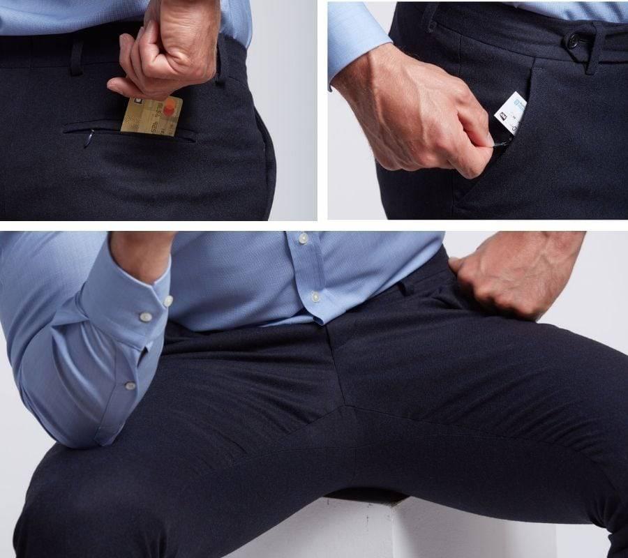 Frison pantalon sans pince en flanelle de merinos bleu nuit Wolbe