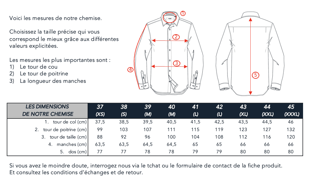 Guide des tailles chemises Wolbe