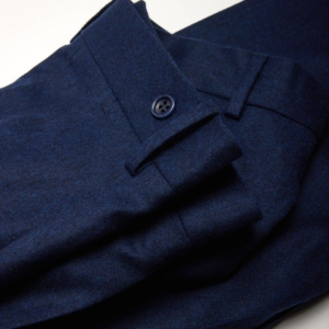 Walter pantalon une pince en flanelle de merinos bleu Wolbe