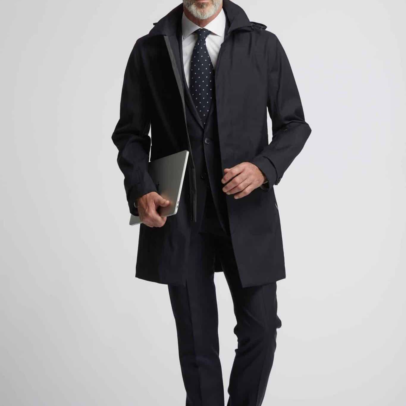 Trench coat bleu marine imperméable Boundless Wolbe