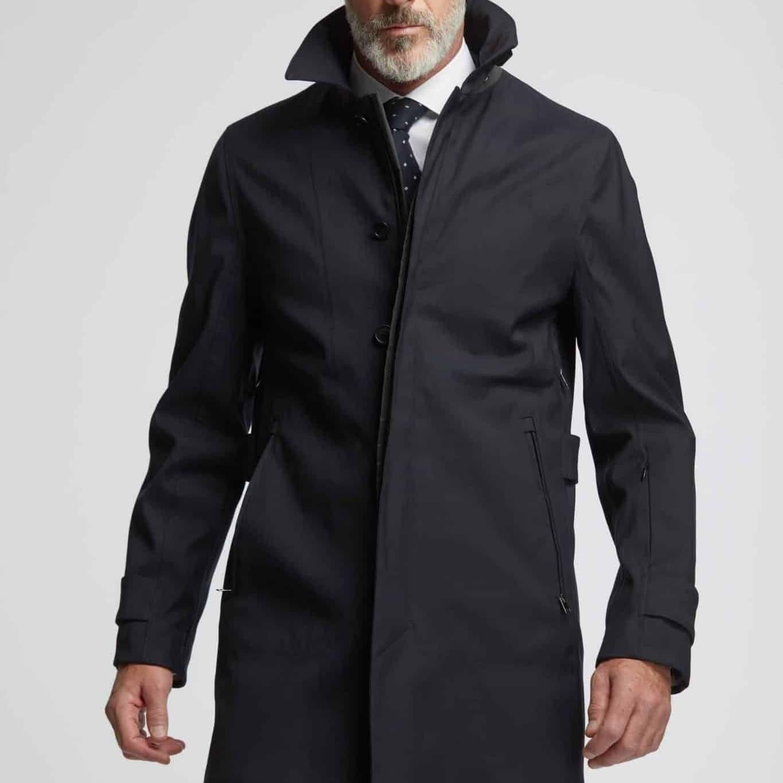 wolbe dark blue trench coat