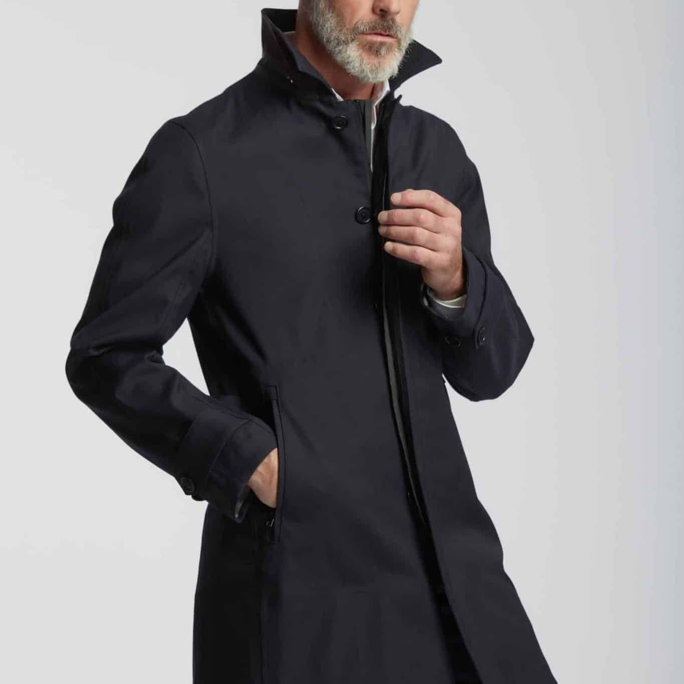 mission élégance intemporelle Trench coat bleu marine