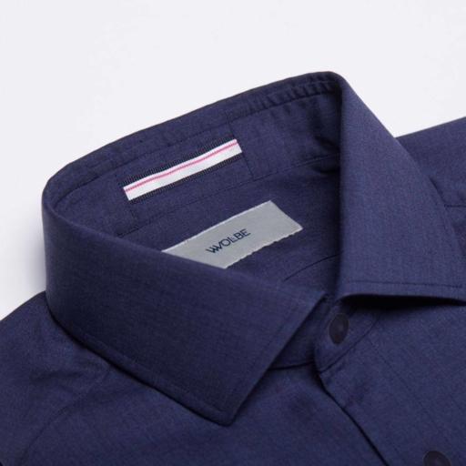 chemise en laine merinos Wolbe bleu de minuit