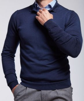PULL COL bouton en maille wolbe