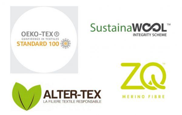 Vêtements eco responsable Wolbe prend 4 engagements logo eco responsable de tissu